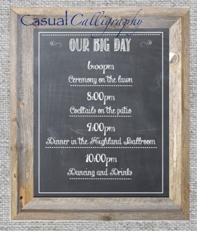 wedding agenda chalkboard printable event schedule sign black and - Event Program