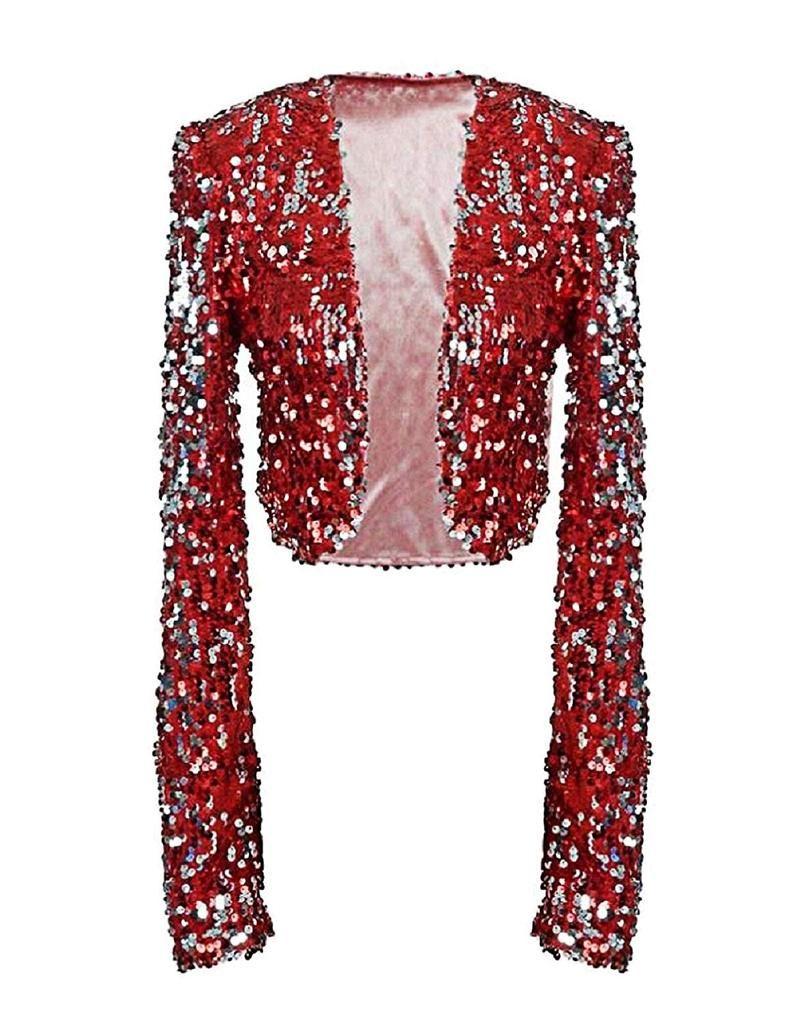 73236667cffd1 kayamiya Womens Sequin Jacket Long Sleeve Glitter Cropped Bolero Shrug