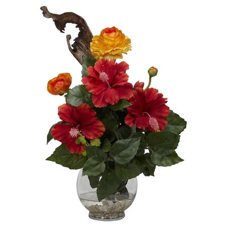 Found it at Wayfair - Silk Hibiscus & Ranunculus Arrangement