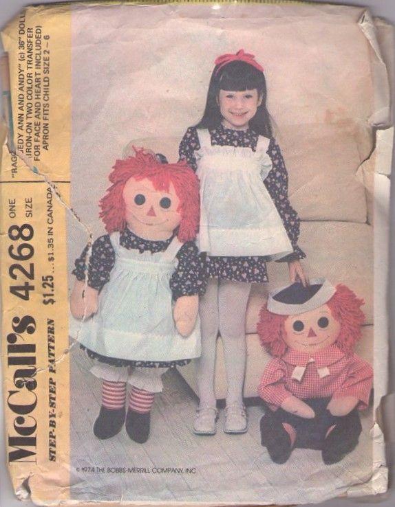 MOMSPatterns Vintage Sewing Patterns - McCall's 4268 Vintage 70's Sewing Pattern Official Bobbs Merrill GIANT Life Sized Raggedy Ann & Andy Dolls, Matching Girls Dress & Pinafore Apron