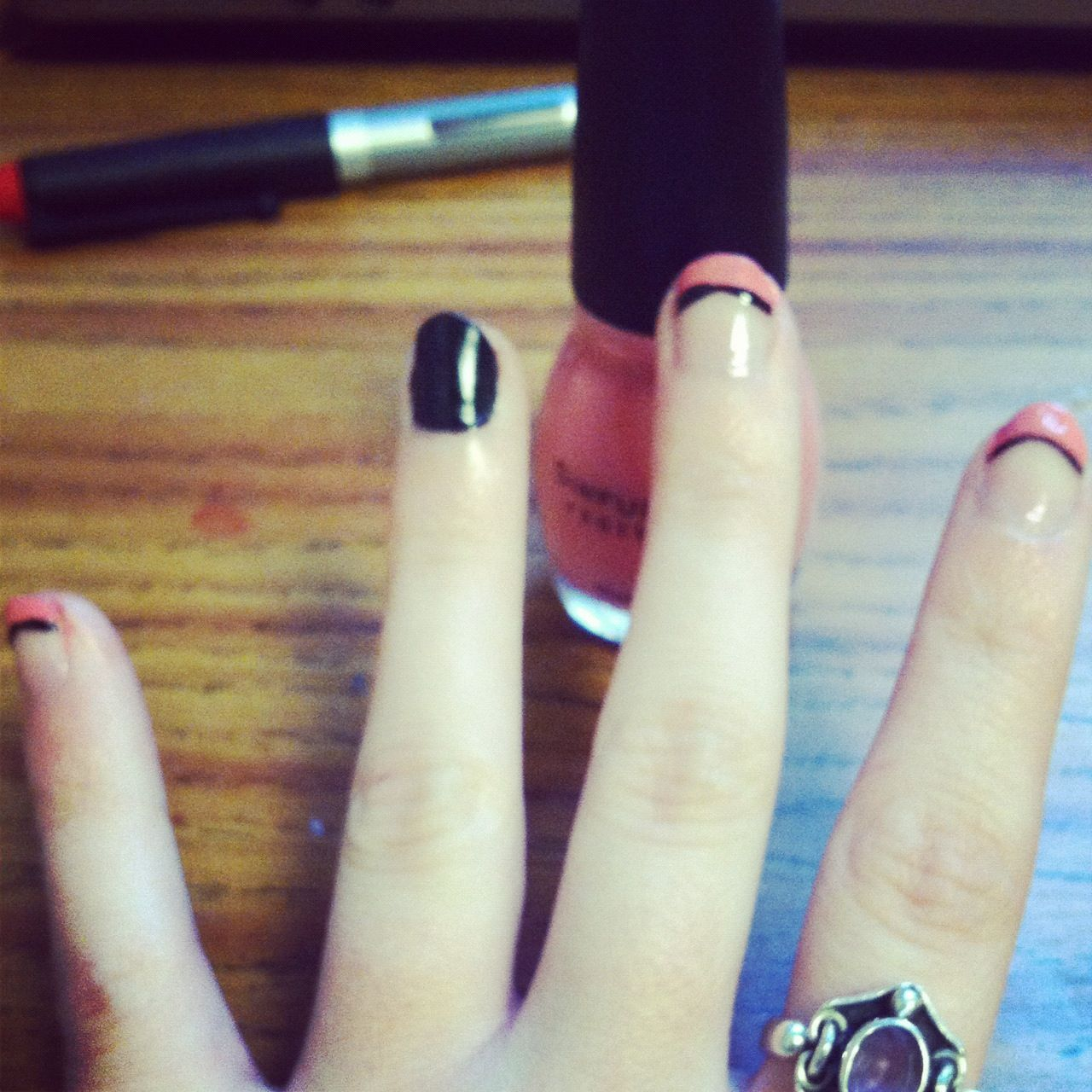 Baby pink & black line nails | Nails | Pinterest