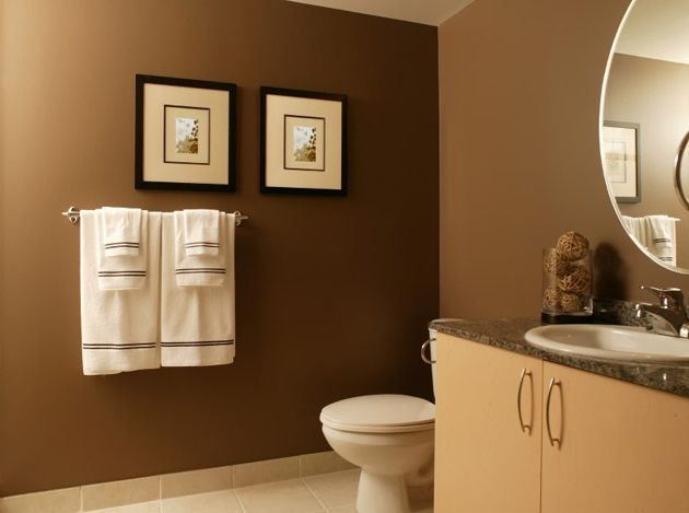 Dark Brown Accent Wall In Master Bathroom Modern Bathroom