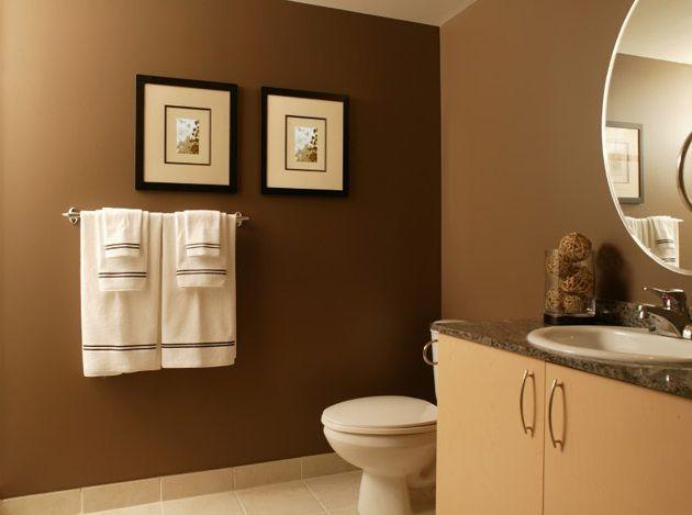 Dark Brown Accent Wall In Master Bathroom Modern Bathroom