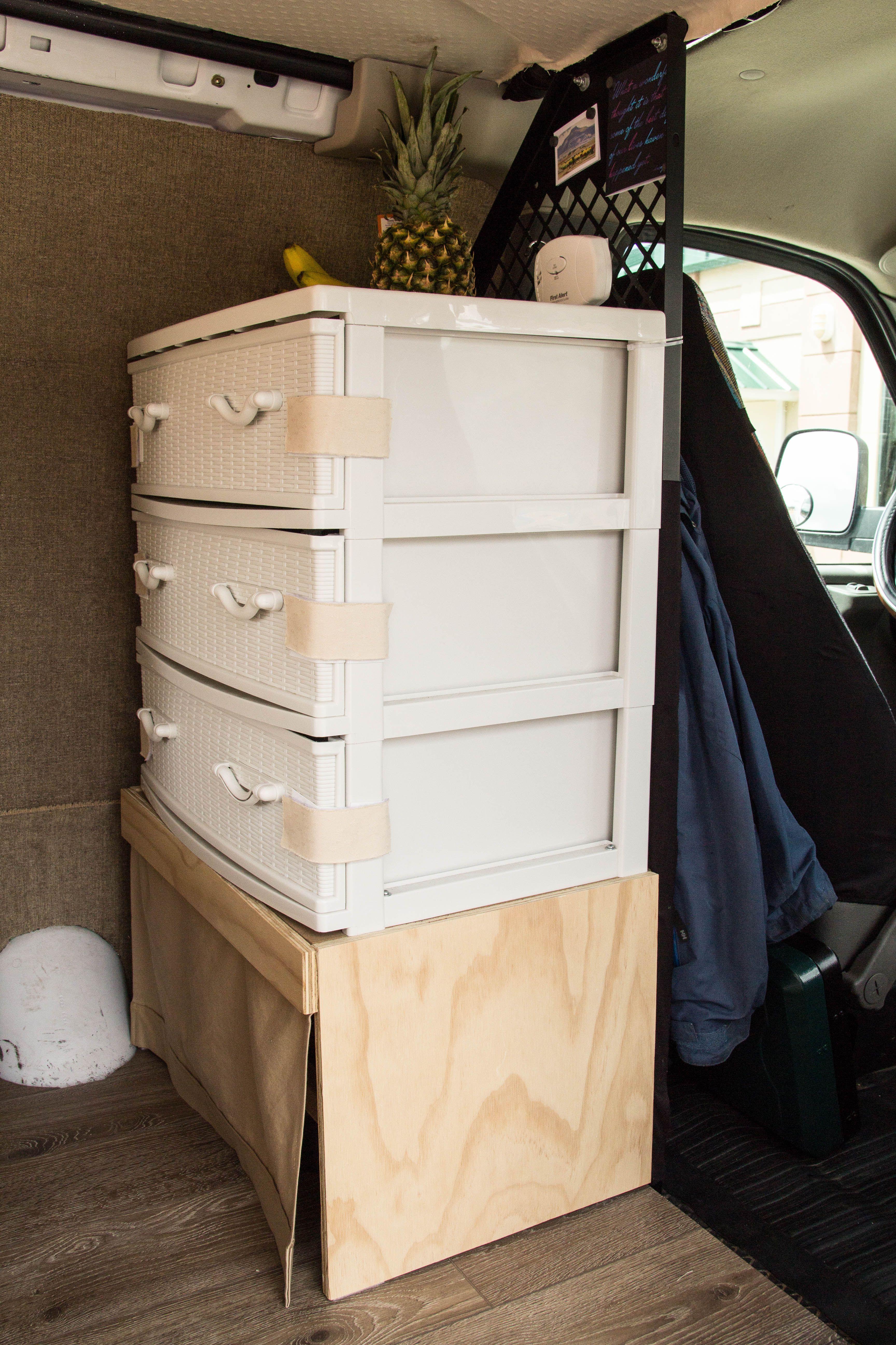 Van build, DIY van shelf, cargo van conversion, pantry, van