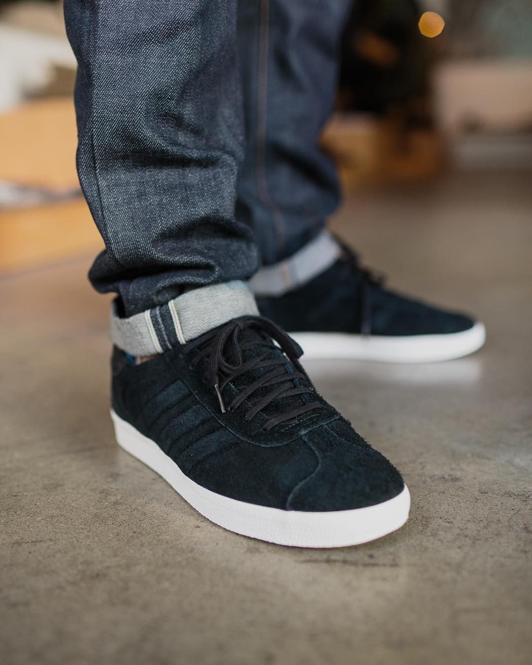 2a107adfe2  mulpix Rough suede Gazelle from Adidas Originals x Wings + Horns in full  black on black scheme.