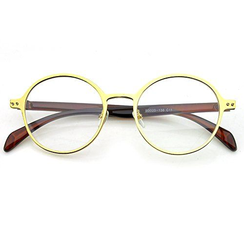 4e887669bfb PenSee Oval Round Circle Eye Glasses Large Oversized Metal Frame Clear Lens    You can find out more details at the link of the image.