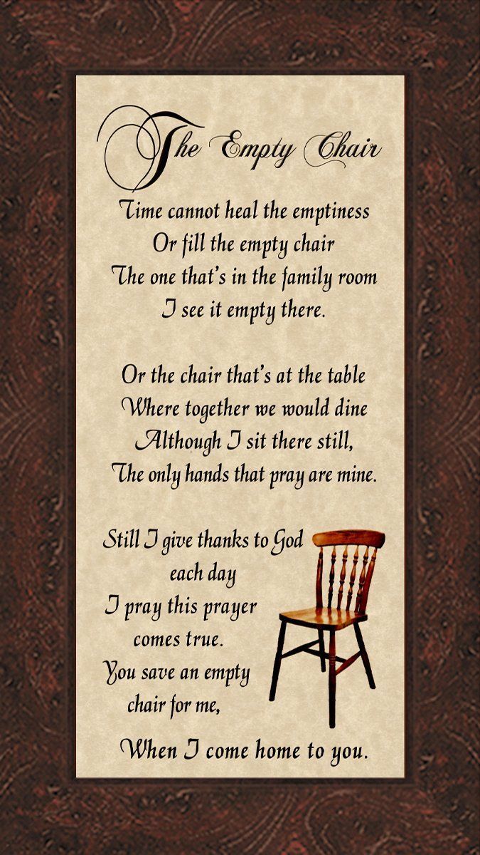 Christmas In Heaven Poem With Chair Printable.Amazon Com The Empty Chair Memorial Bereavement Poem Frame