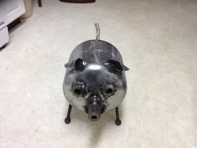 Pig made from a old propane tank , Spider Gears and other Scrap