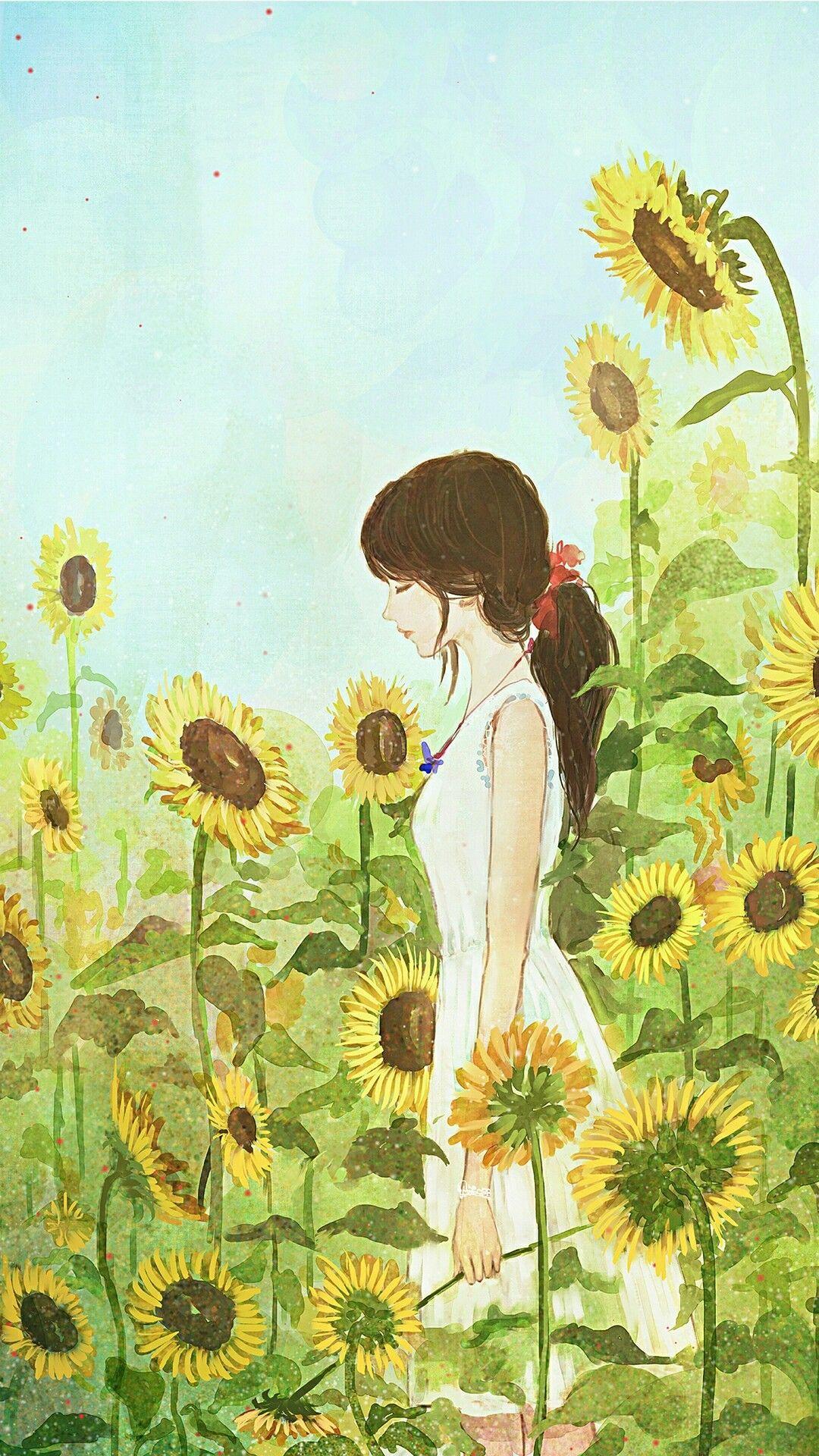 소녀 일러스트with sunflower Hoa Hướng Dương, Nghệ Thuật Màu Nước, Màu Nước,