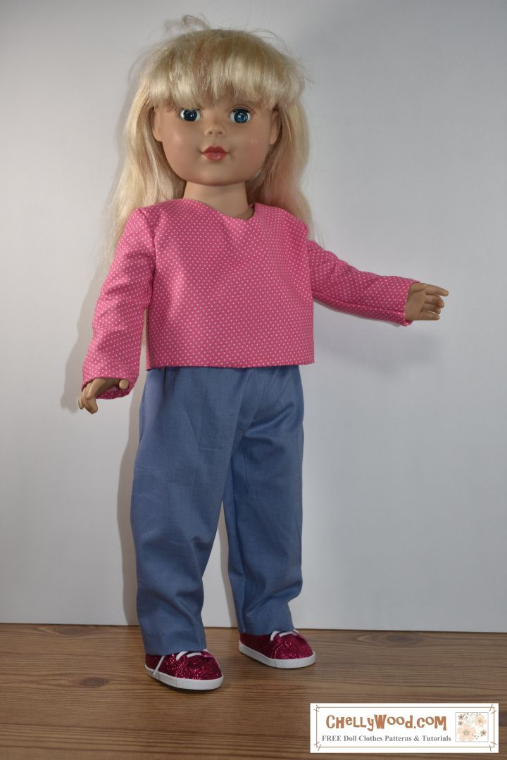 Sew a long-sleeved shirt and jeans for your 18″ dolls w/free PDF patterns @ ChellyWood.com #crafts #creativeideas #craftymom – Free Doll Clothes Patterns