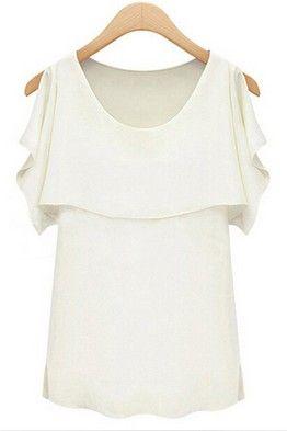 1bd079e5216 Белая блузка с волнистыми рукавами