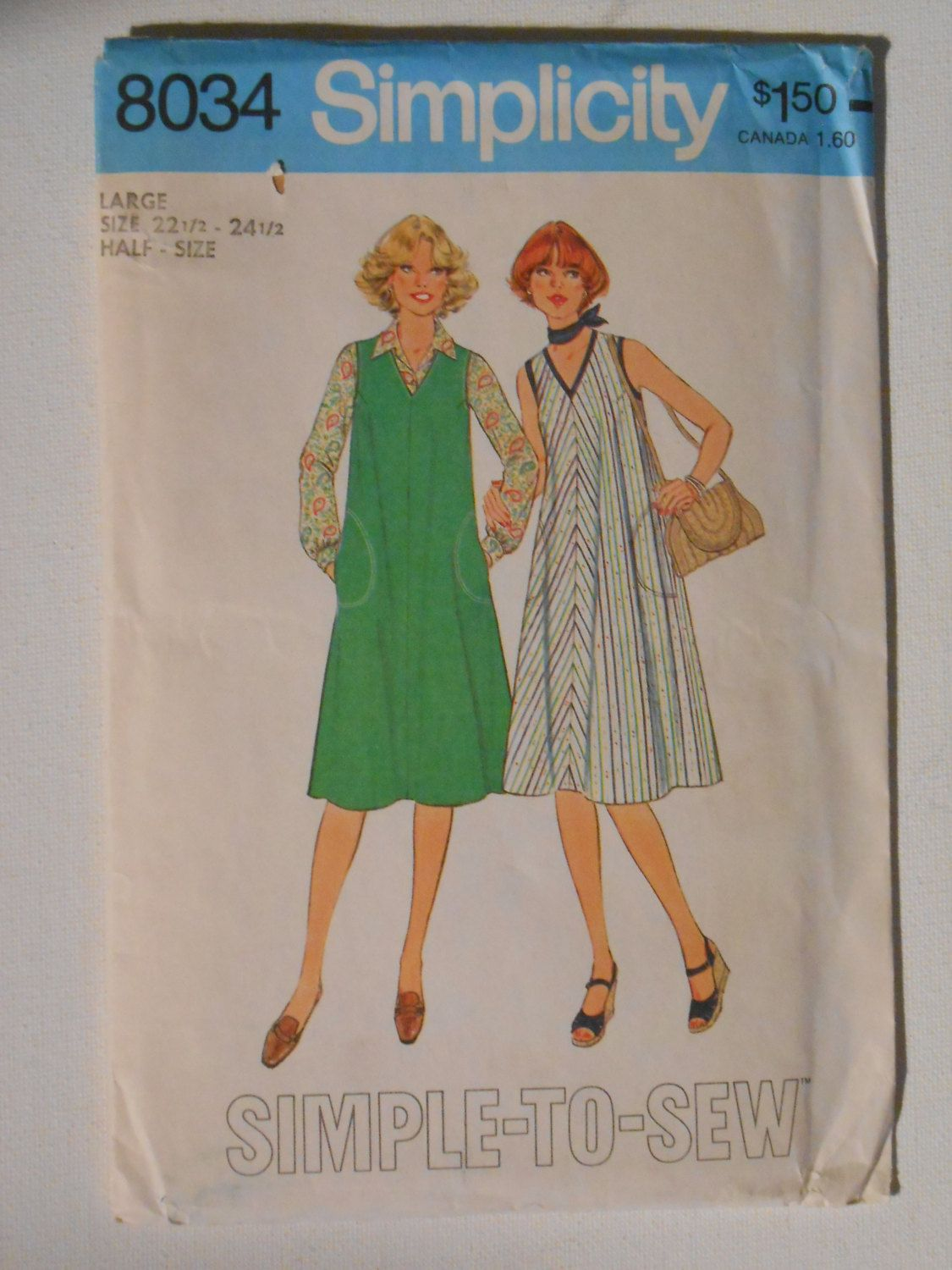 Vintage 70s Simple to Sew Dress or Jumper Pattern Simplicity 8034 Size 22 1/2 24 1/2 Large Bust 45 47 UNCUT by lisaanne1960 on Etsy