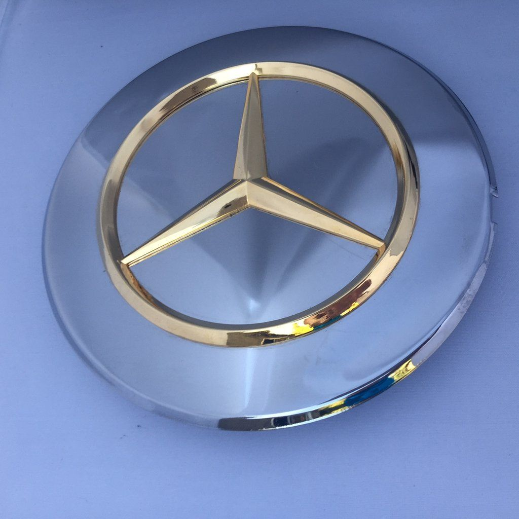 Chrome Cover With The Gold Logo Mercedes Star Wheel Lug Bolts New Genuine Mercedes Benz R107 560sl W126 300sdl 300se 300sel 350sd 350sdl 420sel 560sec 560sel Mercedes Benz Benz Mercedes