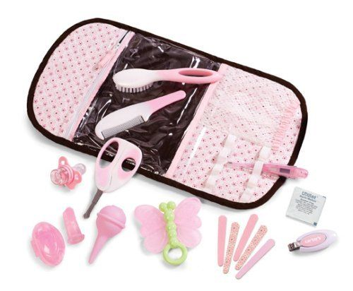 Carter's On-the-Go Grooming and Healthcare Essentials by Summer Infant, Inc.. $32.75. From the Manufacturer      Summer Infant On-the-Go Grooming and Healthcare Essentials kit includes stylish suede like case with magnetic closure and extra storage. This includes: nail clippers, scissors, brush & comb, butterfly shaped teether, nasal aspirator, oral thermometer, pacifier medicine dispenser, finger toothbrush & case, gum stimulator, how to guide, 5 emery boards and 5 ...