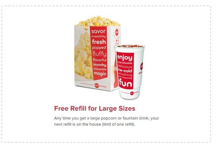 image about Amc Printable Coupons identified as AMC Coupon: Absolutely free Refill for High Popcorn or Fountain Consume
