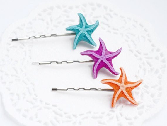 Hair Pins Set - Bright Colorful Starfish Pins - Orange, Violet, Turquoise. via Etsy.