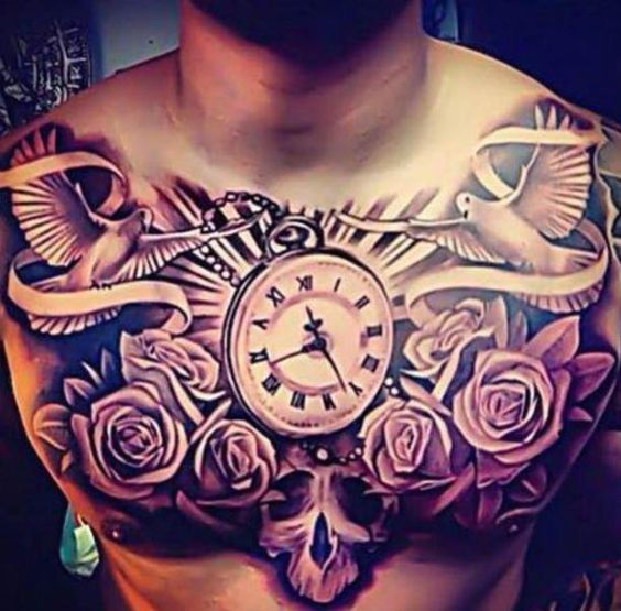 Dove Chest Tattoo Designs Tattoo Doves Clock And Roses Chest Men Chest Tattoo Chest Piece Tattoos Pieces Tattoo