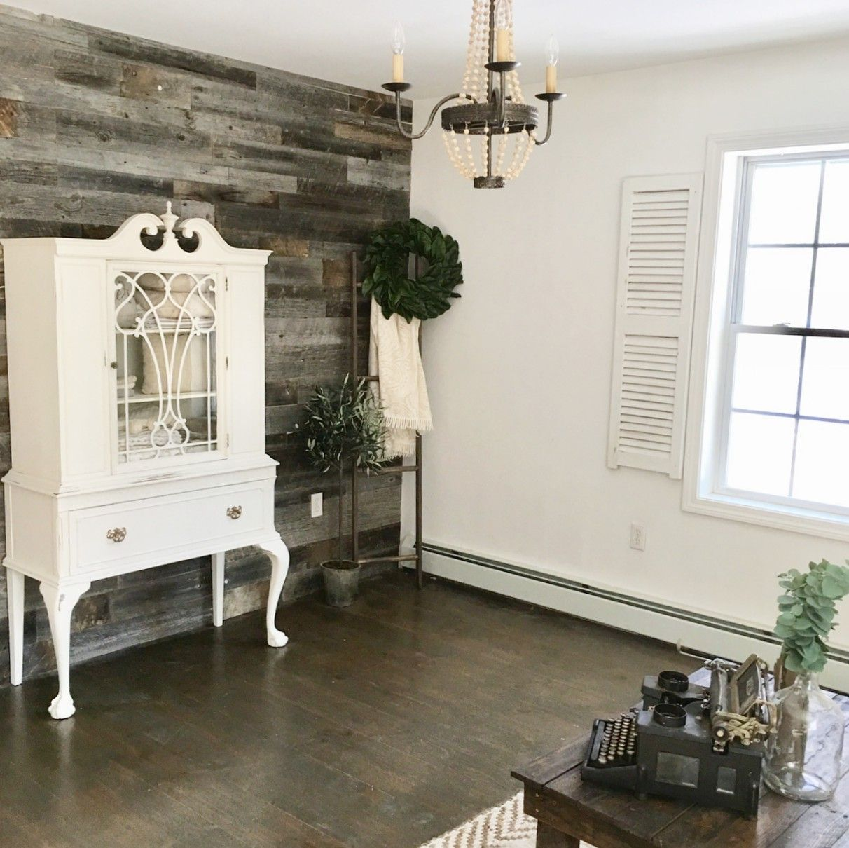Farmhouse living room reclaimed wood accent wall wood