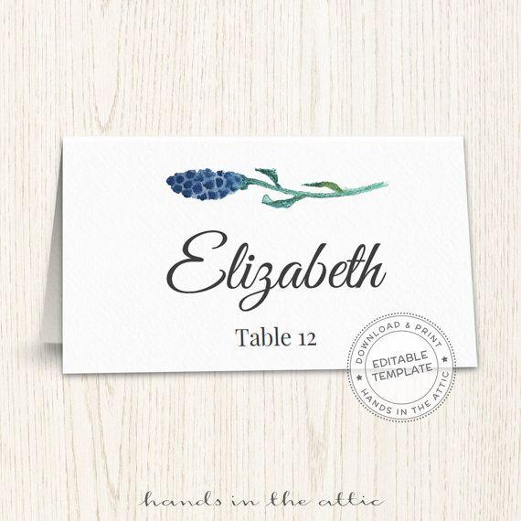 Floral Wedding Placecard Template Printable Escort Cards Wedding