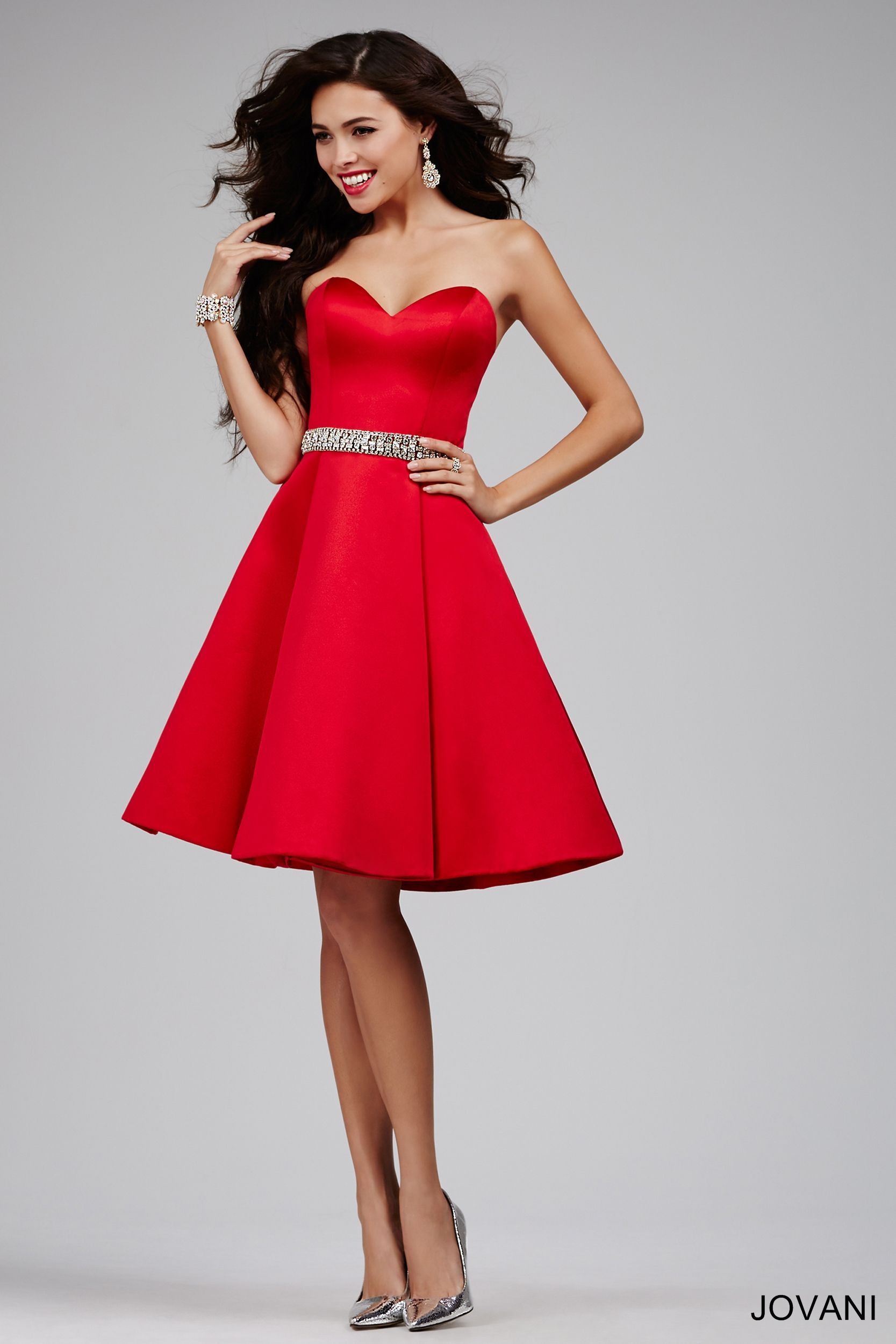 4fbbc424b97 Strapless Red Fit and Flare Dress 25470