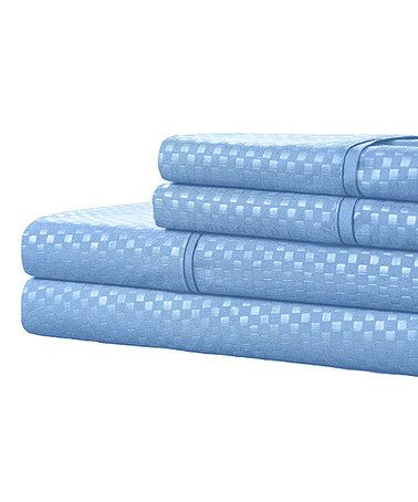 Look what I found on #zulily! Blue Hotel Collection Wrinkle-Resistant Embossed Sheet Set #zulilyfinds