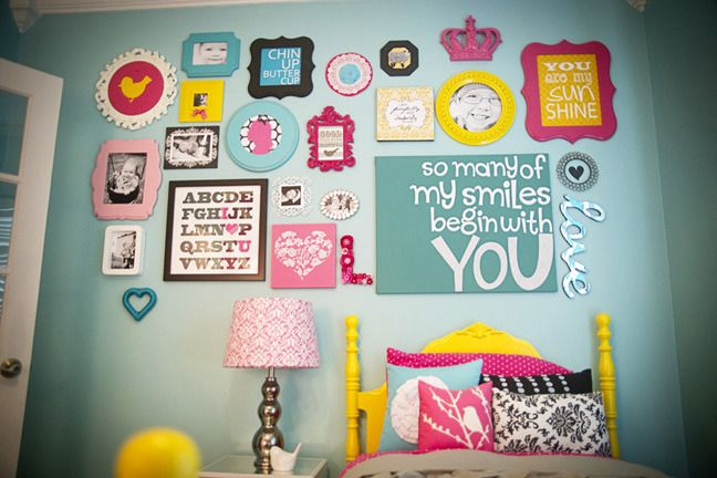 Really cute pic idea for little girls roomuld do similar in
