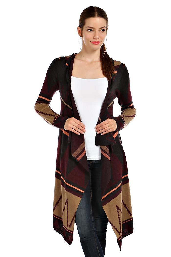 TRIBAL PRINT HOODED MAXI CARDIGAN- Burgundy | Cardigans ...