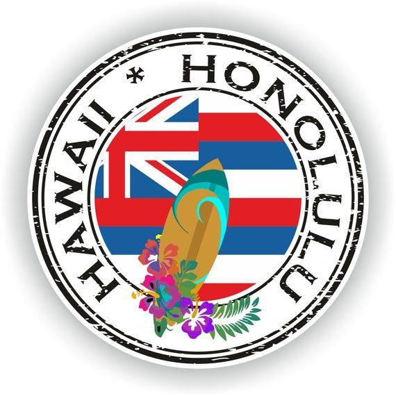 Hawái Honolulu #01 sello pegatina bandera redonda para el ordenador portátil libro nevera guitarra casco herramienta ToolBox Puerta PC Barco