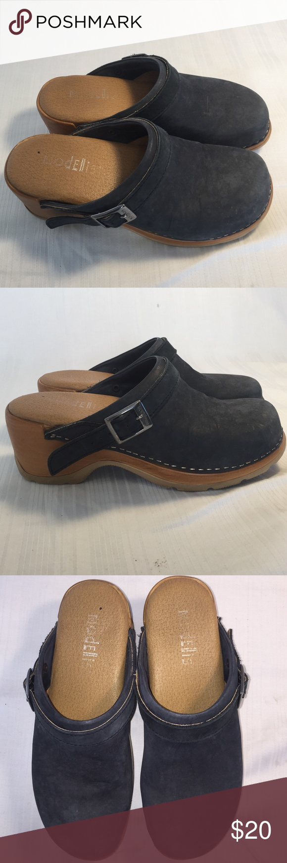 26f37433839b Modellista clogs Blue suede clogs strap can be decorative or fastened  behind ankle super comfy modellista