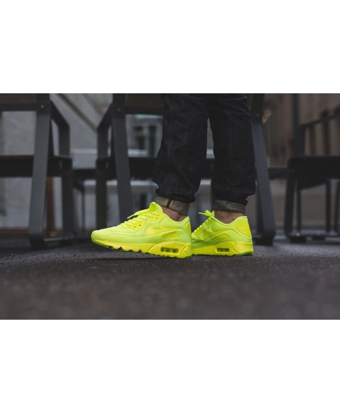 the latest f0882 6821d Nike Air Max 90 Ultra Breathe Volt Light Yellow Shoes Sale