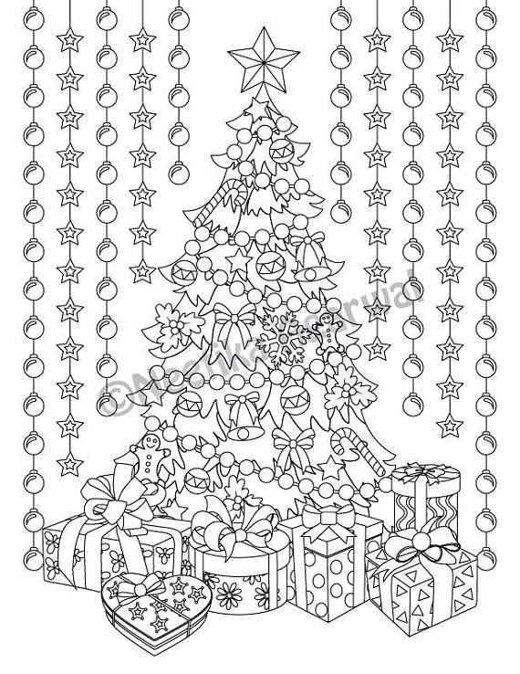 Christmas Tree Adult Coloring Page Christmas Coloring Page