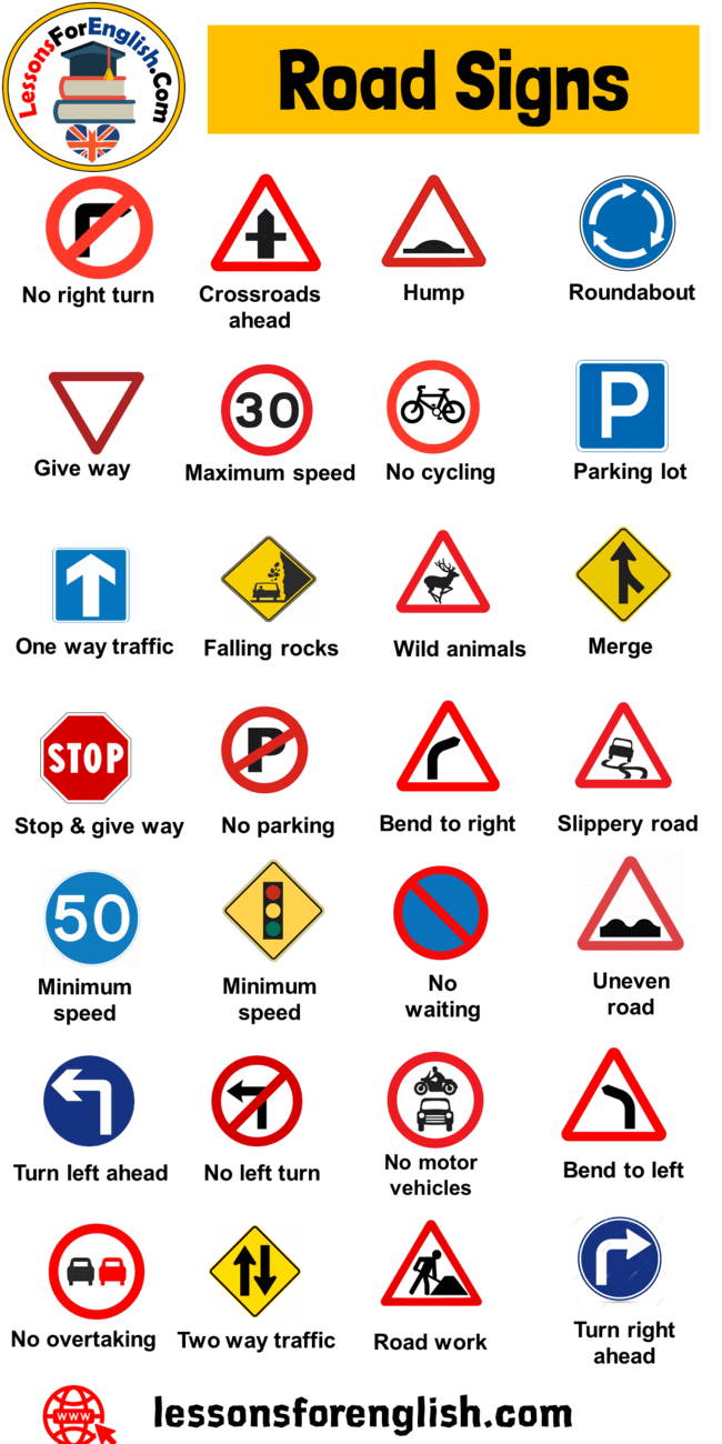 Road Signs And Symbols Names Of Road Signs To Facilitate Road Traffic And To Increase Road Safety Through The Ado Road Signs Traffic Signs Learn English Words