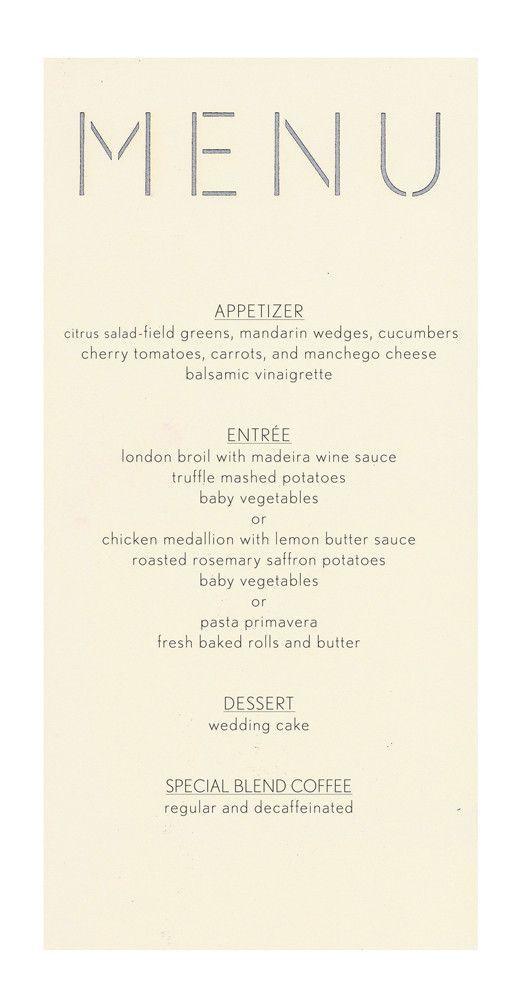 Block Menu Card - Offset Printed Laser cutting, Menu and Ivory - dinner menu