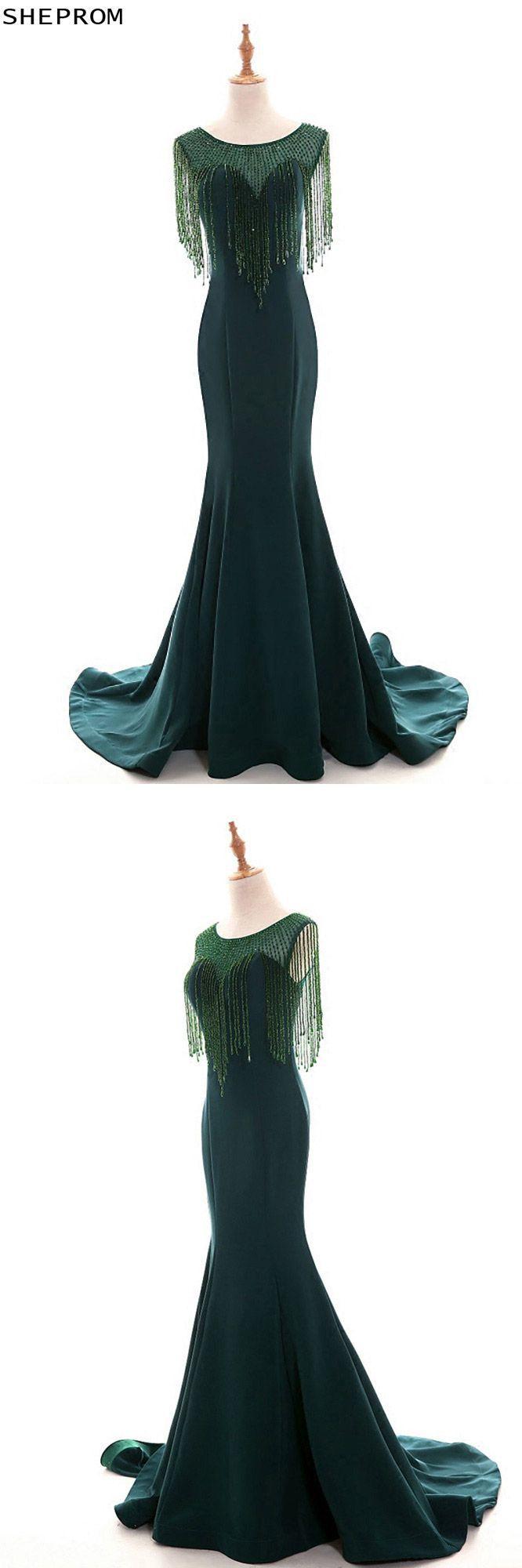 Classy dark green long mermaid formal evening dress with bling