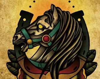 lucky horseshoe horse neo traditional tattoo flash old ...