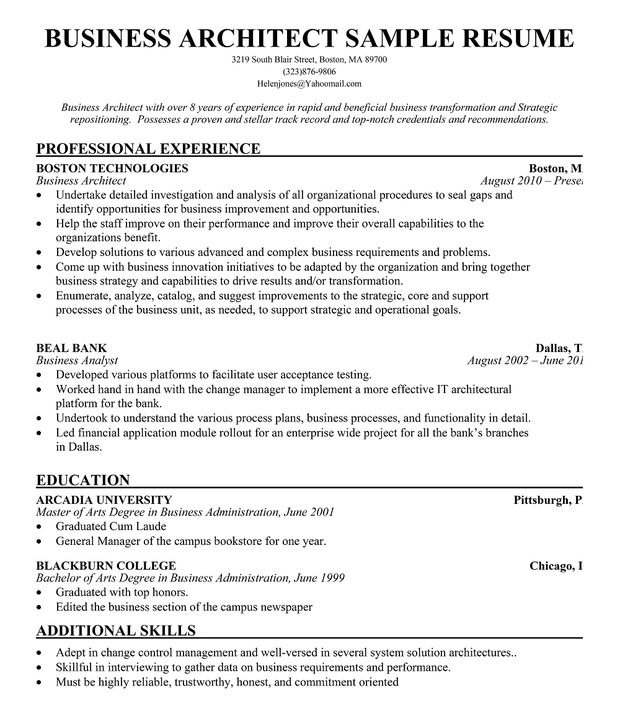 Business Architect Resume Example Free Resumecompanion