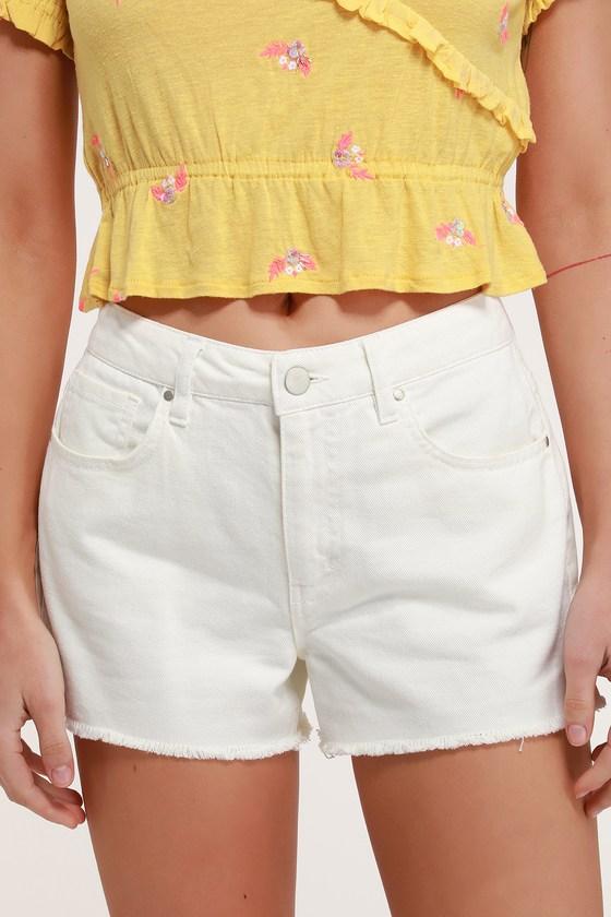 Sonya White Denim Cutoff Shorts #denimcutoffshorts