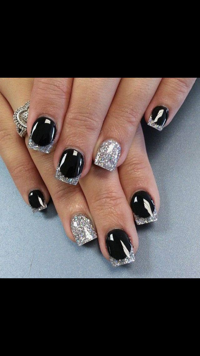 Black with silver