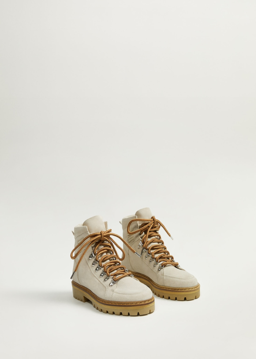 Lace-up leather boots - Women | Mango