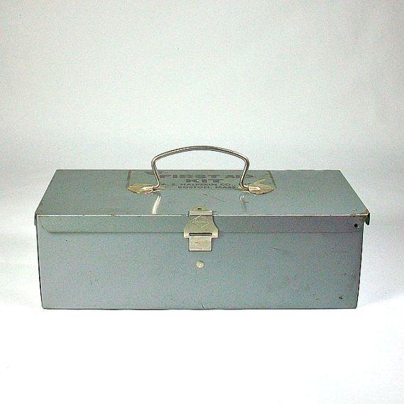 First Aid Kit Industrial Gray Metal Storage  Box