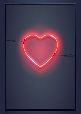 Metal Poster Neon Heart On The Wall