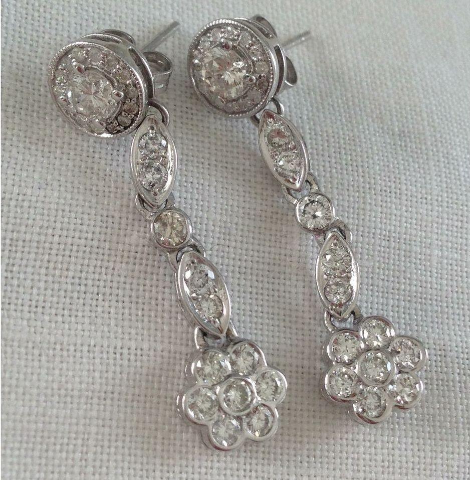 Vintage 1.65 Carat Diamond Dangling Flower 14kt White Gold Pierced Earrings