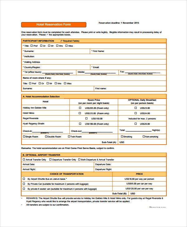 Hotel Reservation Form Jpeg 600 730 Form Reserved Hotel