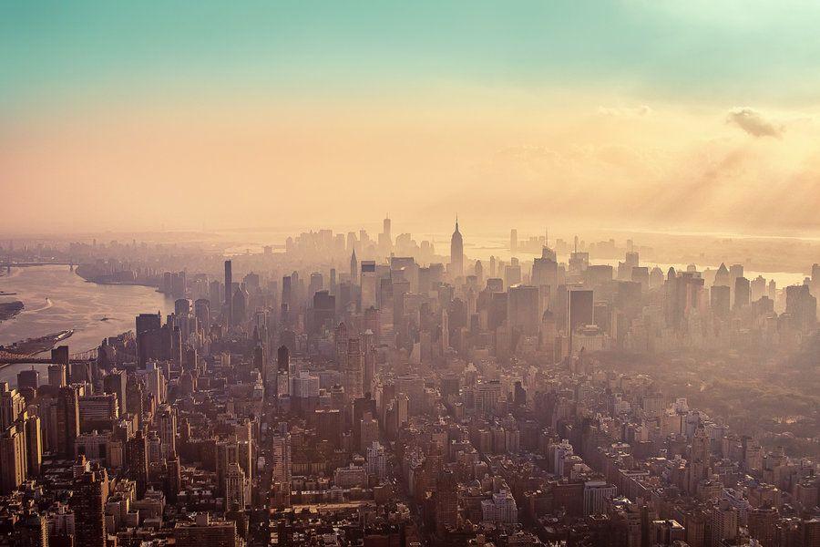 New York City Haze, Midtown Manhattan, Downtown, Helicopter