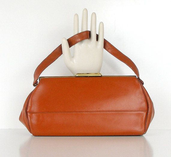 Vintage Leather Handbag 1950s Leather Purse Mid Brown Tan Leather Handbag