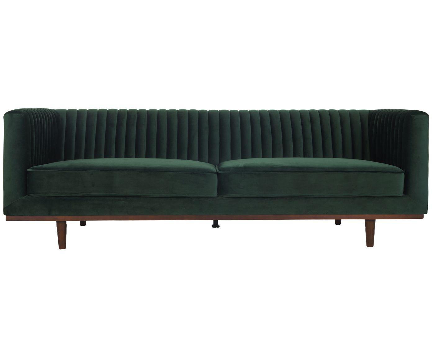 Fluwelen Bank Dante 3 Zits In Groen Met Houten Poten Westwingnow Samt Sofa Sofa Haus