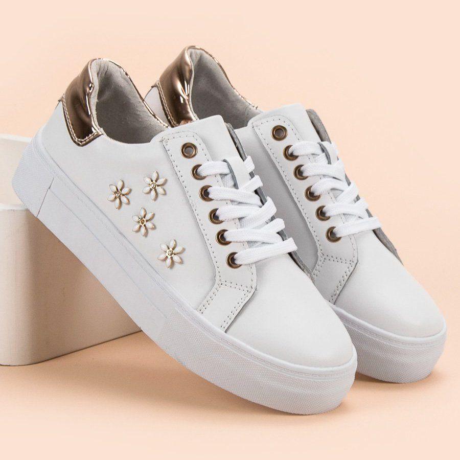 Sportowe Damskie Filippo Filippo Biale Skorzane Buty Sportowe Z Kwiatkami Wedding Sneaker Sneakers Shoes