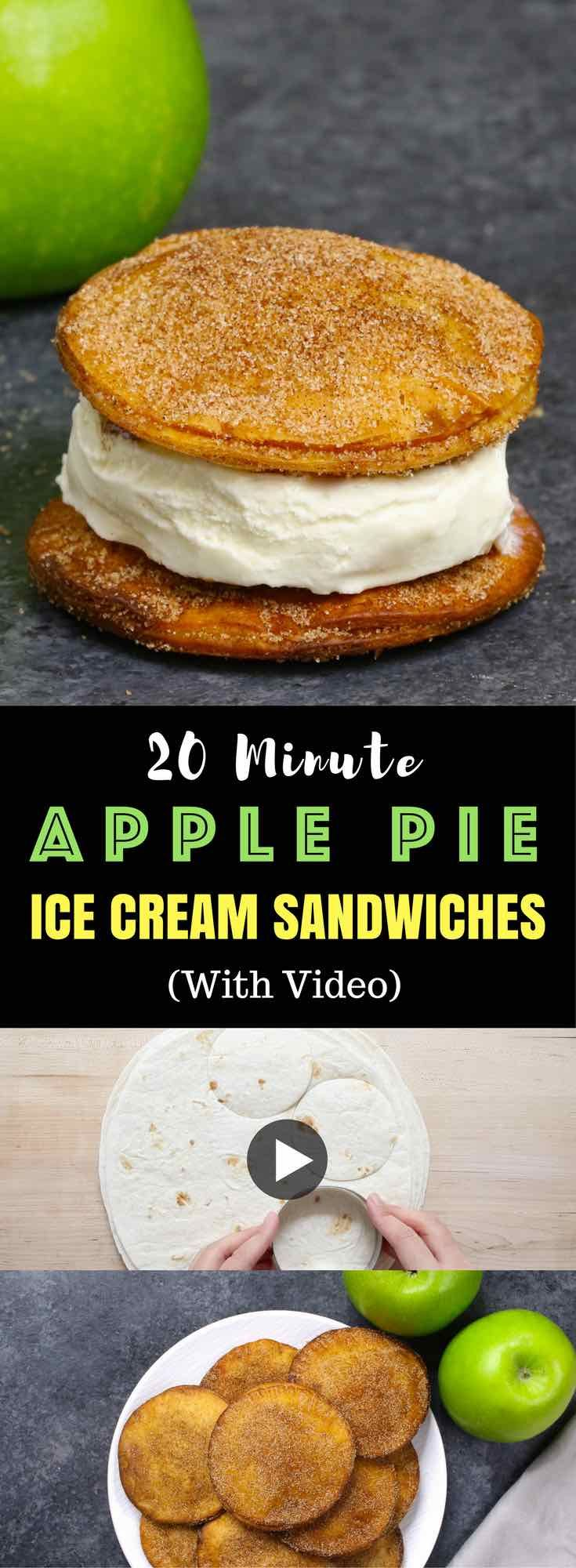 Super easy Apple Pie Ice Cream Sandwiches - Delicious cinnamon sugary apple pie with ice cream in between. A super easy recipe using flour tortillas and comes together in no time! All you need is a few simple ingredients: Flour Tortillas, butter, cinnamon