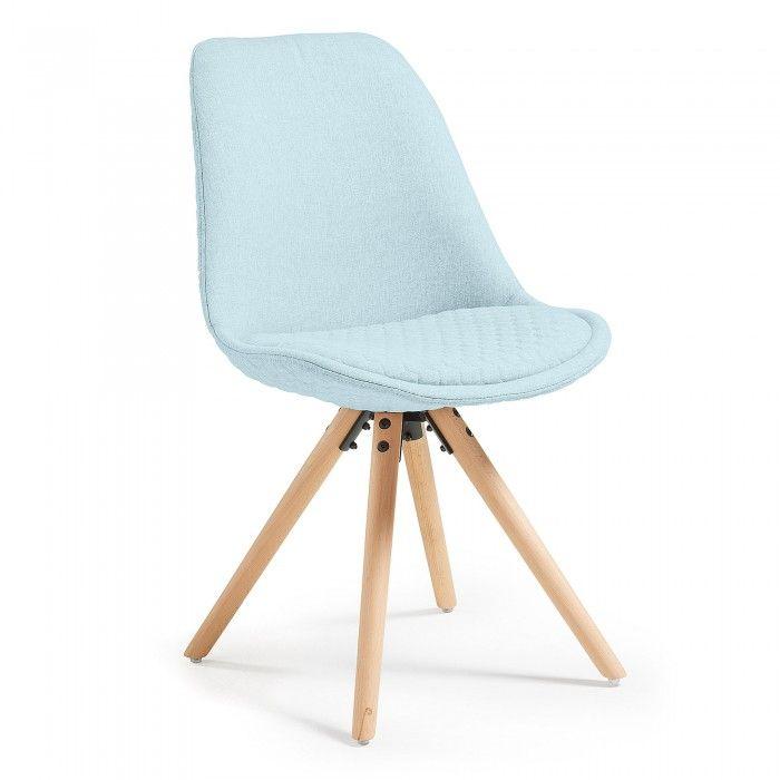Silla Ralf, natural y tejido azul claro | Azul claro, Sillas y ...