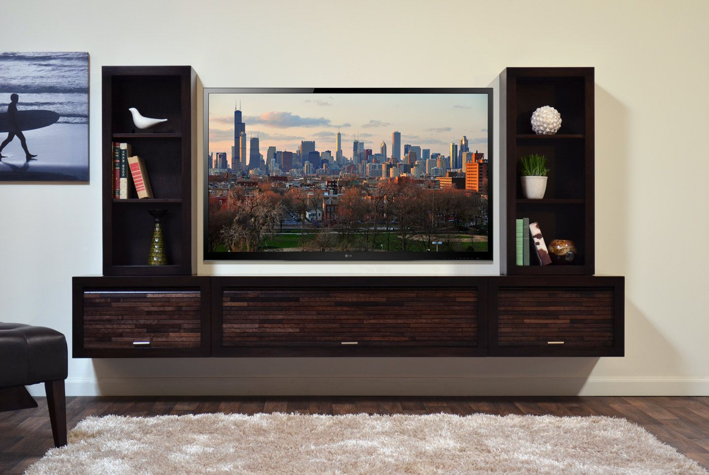 Living Room Entertainment Center Ideas floating entertainment center eco geo espressowoodwavesinc